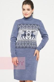 Платье женское 182-2348 Фемина (Светлый джинс/антрацит/молоко)
