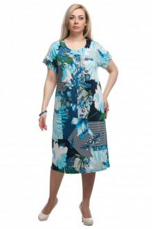"""Платье """"Олси"""" 1605030/2 (Цветы синий)"""